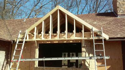 Framing gable roof and bay